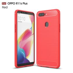 Luxury Carbon Fiber Brushed Wire Drawing Silicone TPU Back Cover for Oppo R11s Plus - Red