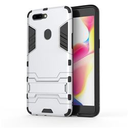 Armor Premium Tactical Grip Kickstand Shockproof Dual Layer Rugged Hard Cover for Oppo R11s Plus - Silver