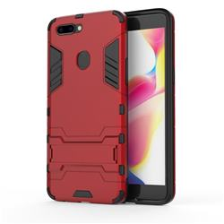 Armor Premium Tactical Grip Kickstand Shockproof Dual Layer Rugged Hard Cover for Oppo R11s Plus - Wine Red