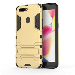 Armor Premium Tactical Grip Kickstand Shockproof Dual Layer Rugged Hard Cover for Oppo R11s Plus - Golden