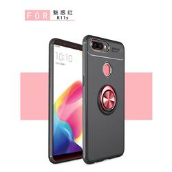 Auto Focus Invisible Ring Holder Soft Phone Case for Oppo R11s Plus - Black Red