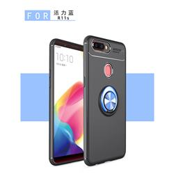 Auto Focus Invisible Ring Holder Soft Phone Case for Oppo R11s Plus - Black Blue