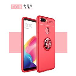 Auto Focus Invisible Ring Holder Soft Phone Case for Oppo R11s Plus - Red