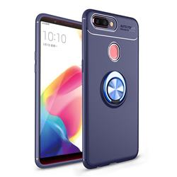 Auto Focus Invisible Ring Holder Soft Phone Case for Oppo R11s Plus - Blue