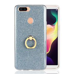 Luxury Soft TPU Glitter Back Ring Cover with 360 Rotate Finger Holder Buckle for Oppo R11s Plus - Blue