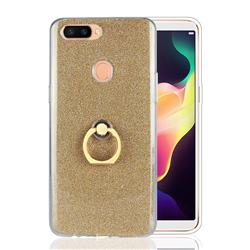 Luxury Soft TPU Glitter Back Ring Cover with 360 Rotate Finger Holder Buckle for Oppo R11s Plus - Golden