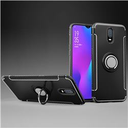Armor Anti Drop Carbon PC + Silicon Invisible Ring Holder Phone Case for Oppo R17 - Black
