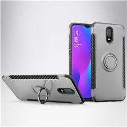 Armor Anti Drop Carbon PC + Silicon Invisible Ring Holder Phone Case for Oppo R17 - Silver