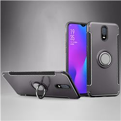 Armor Anti Drop Carbon PC + Silicon Invisible Ring Holder Phone Case for Oppo R17 - Grey