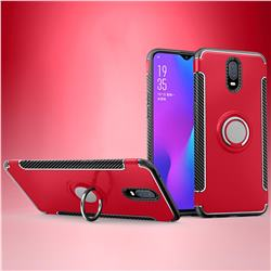 Armor Anti Drop Carbon PC + Silicon Invisible Ring Holder Phone Case for Oppo R17 - Red