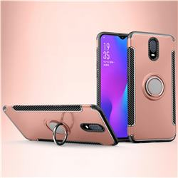 Armor Anti Drop Carbon PC + Silicon Invisible Ring Holder Phone Case for Oppo R17 - Rose Gold