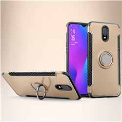 Armor Anti Drop Carbon PC + Silicon Invisible Ring Holder Phone Case for Oppo R17 - Champagne
