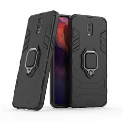 Black Panther Armor Metal Ring Grip Shockproof Dual Layer Rugged Hard Cover for Oppo R17 - Black