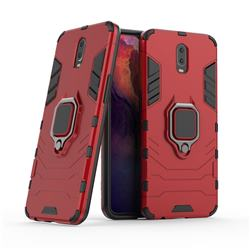 Black Panther Armor Metal Ring Grip Shockproof Dual Layer Rugged Hard Cover for Oppo R17 - Red
