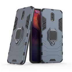 Black Panther Armor Metal Ring Grip Shockproof Dual Layer Rugged Hard Cover for Oppo R17 - Blue