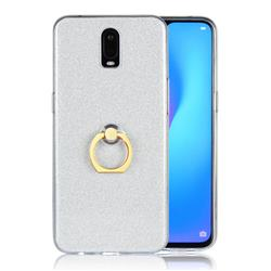 Luxury Soft TPU Glitter Back Ring Cover with 360 Rotate Finger Holder Buckle for Oppo R17 - White