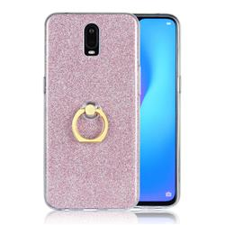 Luxury Soft TPU Glitter Back Ring Cover with 360 Rotate Finger Holder Buckle for Oppo R17 - Pink