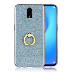 Luxury Soft TPU Glitter Back Ring Cover with 360 Rotate Finger Holder Buckle for Oppo R17 - Blue