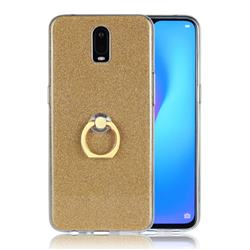 Luxury Soft TPU Glitter Back Ring Cover with 360 Rotate Finger Holder Buckle for Oppo R17 - Golden