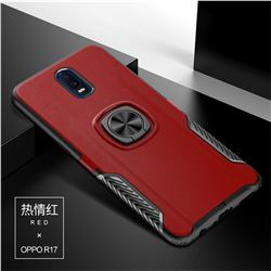 Knight Armor Anti Drop PC + Silicone Invisible Ring Holder Phone Cover for Oppo R17 - Red