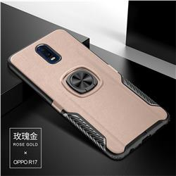 Knight Armor Anti Drop PC + Silicone Invisible Ring Holder Phone Cover for Oppo R17 - Rose Gold