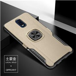 Knight Armor Anti Drop PC + Silicone Invisible Ring Holder Phone Cover for Oppo R17 - Champagne