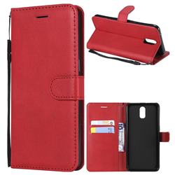 Retro Greek Classic Smooth PU Leather Wallet Phone Case for Oppo R17 - Red