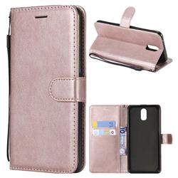 Retro Greek Classic Smooth PU Leather Wallet Phone Case for Oppo R17 - Rose Gold