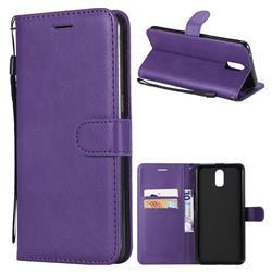 Retro Greek Classic Smooth PU Leather Wallet Phone Case for Oppo R17 - Purple