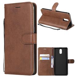 Retro Greek Classic Smooth PU Leather Wallet Phone Case for Oppo R17 - Brown