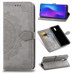Embossing Imprint Mandala Flower Leather Wallet Case for Oppo R17 - Gray