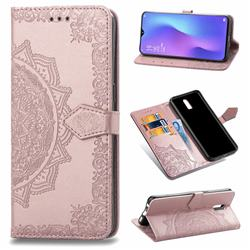 Embossing Imprint Mandala Flower Leather Wallet Case for Oppo R17 - Rose Gold
