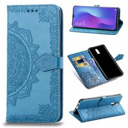 Embossing Imprint Mandala Flower Leather Wallet Case for Oppo R17 - Blue