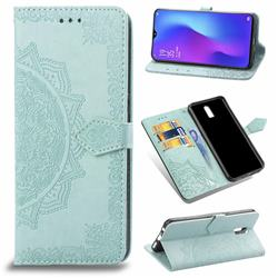 Embossing Imprint Mandala Flower Leather Wallet Case for Oppo R17 - Green