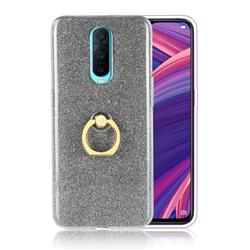 Luxury Soft TPU Glitter Back Ring Cover with 360 Rotate Finger Holder Buckle for Oppo R17 Pro - Black