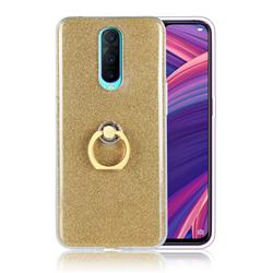 Luxury Soft TPU Glitter Back Ring Cover with 360 Rotate Finger Holder Buckle for Oppo R17 Pro - Golden