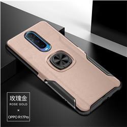 Knight Armor Anti Drop PC + Silicone Invisible Ring Holder Phone Cover for Oppo R17 Pro - Rose Gold