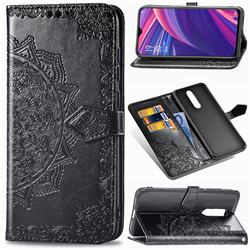 Embossing Imprint Mandala Flower Leather Wallet Case for Oppo R17 Pro - Black