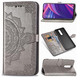 Embossing Imprint Mandala Flower Leather Wallet Case for Oppo R17 Pro - Gray