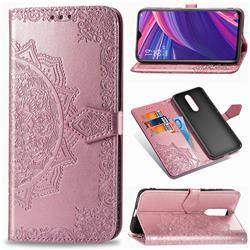 Embossing Imprint Mandala Flower Leather Wallet Case for Oppo R17 Pro - Rose Gold