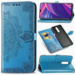 Embossing Imprint Mandala Flower Leather Wallet Case for Oppo R17 Pro - Blue