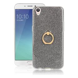 Luxury Soft TPU Glitter Back Ring Cover with 360 Rotate Finger Holder Buckle for Oppo R9 - Black