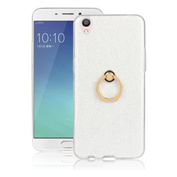 Luxury Soft TPU Glitter Back Ring Cover with 360 Rotate Finger Holder Buckle for Oppo R9 - White
