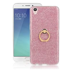 Luxury Soft TPU Glitter Back Ring Cover with 360 Rotate Finger Holder Buckle for Oppo R9 - Pink
