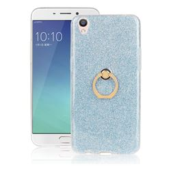Luxury Soft TPU Glitter Back Ring Cover with 360 Rotate Finger Holder Buckle for Oppo R9 - Blue