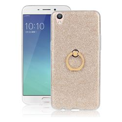 Luxury Soft TPU Glitter Back Ring Cover with 360 Rotate Finger Holder Buckle for Oppo R9 - Golden