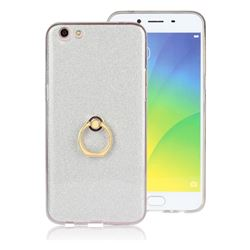 Luxury Soft TPU Glitter Back Ring Cover with 360 Rotate Finger Holder Buckle for Oppo R9s Plus - White