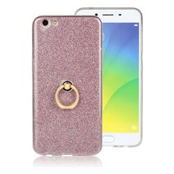 Luxury Soft TPU Glitter Back Ring Cover with 360 Rotate Finger Holder Buckle for Oppo R9s Plus - Pink