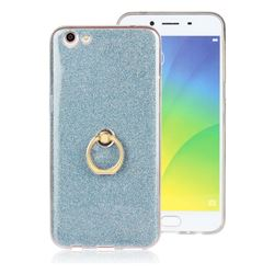 Luxury Soft TPU Glitter Back Ring Cover with 360 Rotate Finger Holder Buckle for Oppo R9s Plus - Blue