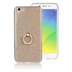 Luxury Soft TPU Glitter Back Ring Cover with 360 Rotate Finger Holder Buckle for Oppo R9s Plus - Golden